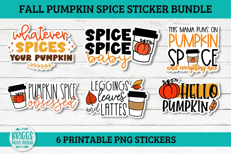 Fall Pumpkin Spice Sticker Bundle - 6 printable PNG stickers example image 1