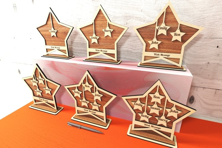 Family member stars on the stand, 6 styles. Glowforge ready.