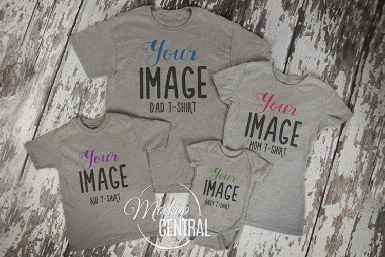 Matching Family Gray T-Shirt Mockup Photo Flatlay example image 1