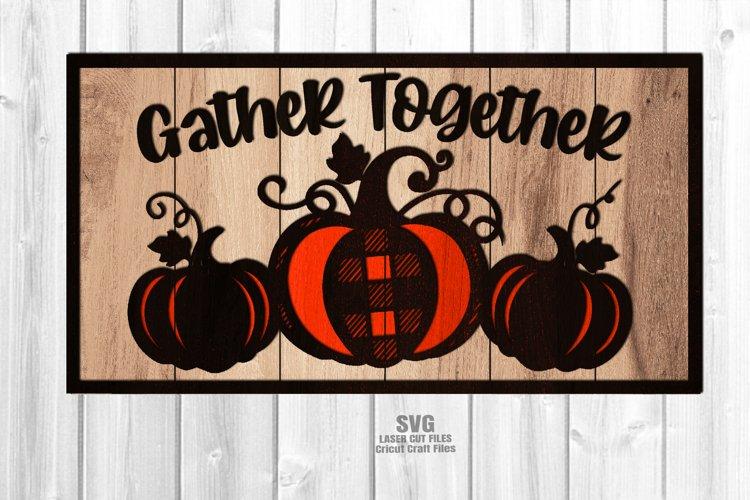 Farmhouse Plaid Pumpkin Welcome Sign SVG Glowforge Files example image 1