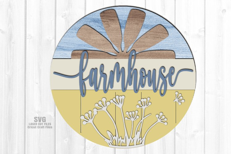 Farmhouse Windmill Sign SVG Glowforge Files Laser Cut Files example image 1