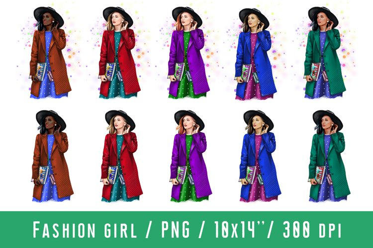 Young Women Fashion Girl Clipart African American European example image 1