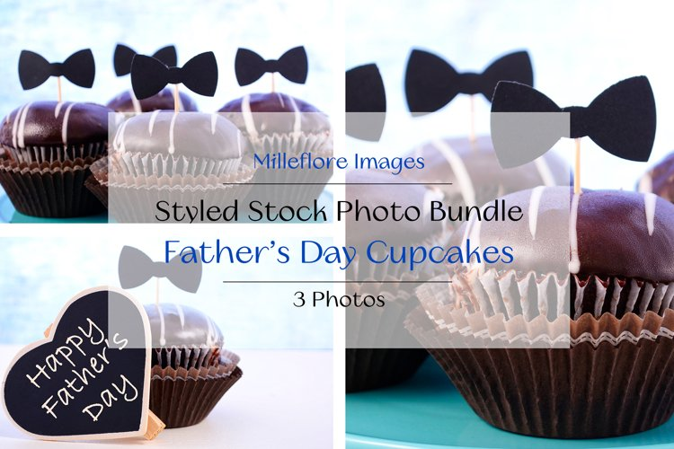 Father's Day Chocolate Cupcakes. 3 Pack Styled Stock Photos example image 1