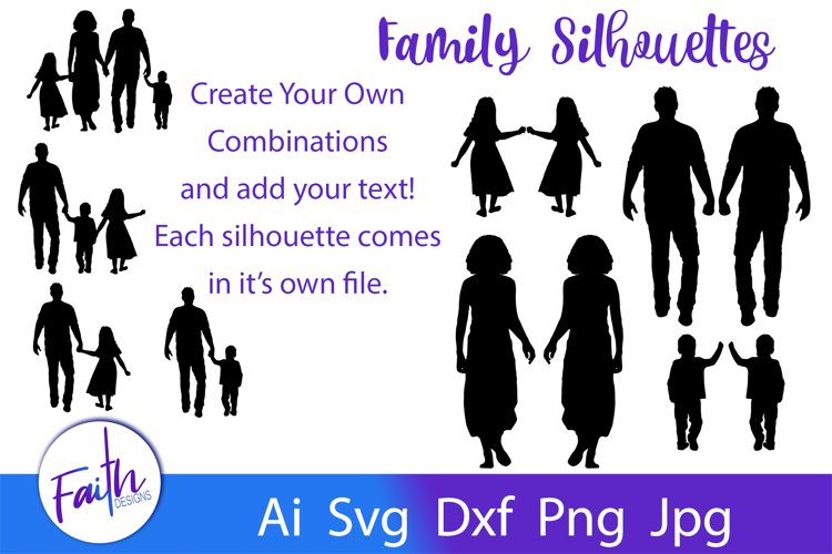 Dad Daughter Dad Son Family Silhouettes Svg Cut Files