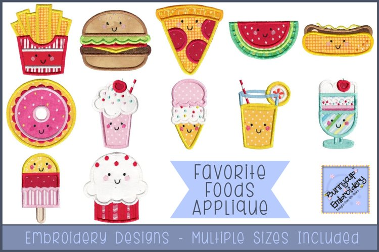 Favorite Foods Applique - 12 Machine Embroidery Designs