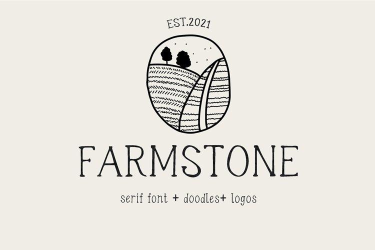 Farmstone Rustic serif font. Doodles . Logos example image 1