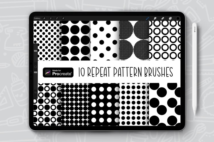 10 Dot Vibes Repeat Pattern Procreate Brush Bundle example image 1