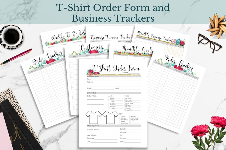 T-Shirt Order Form, Customer & Order Trackers, Floral