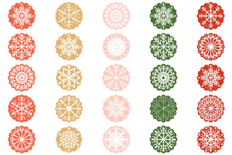 Red Green Pink Snowflake Christmas Scalloped Ornaments