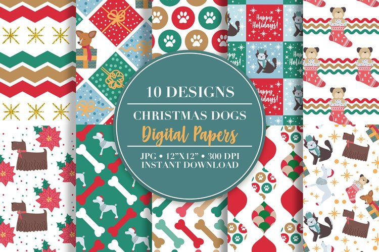 Christmas Dog Digital Papers example image 1