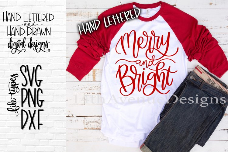 Merry and Bright SVG, Christmas SVG, Hand Lettered SVG, DXF, example image 1