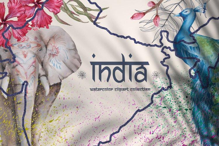 India. Watercolor set