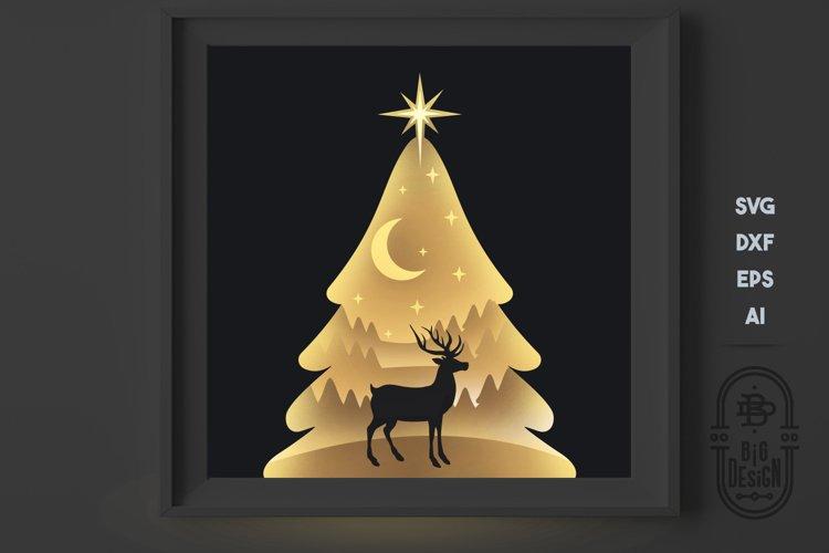 Christmas SVG 3D Scene, Layered Design - Paper Light Box