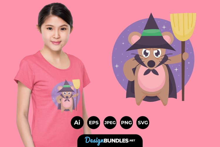 Witch Mouse Illustrations for T-Shirt Design