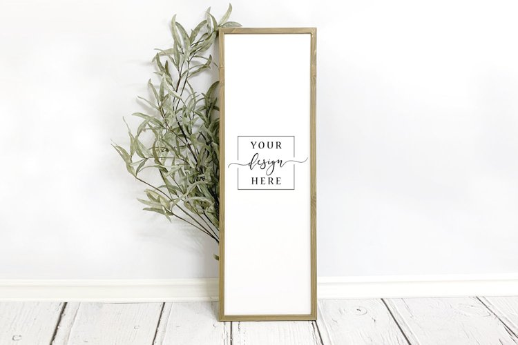 Tall Frame Neutral Sign Mockup In Rustic Farmhouse Style example image 1