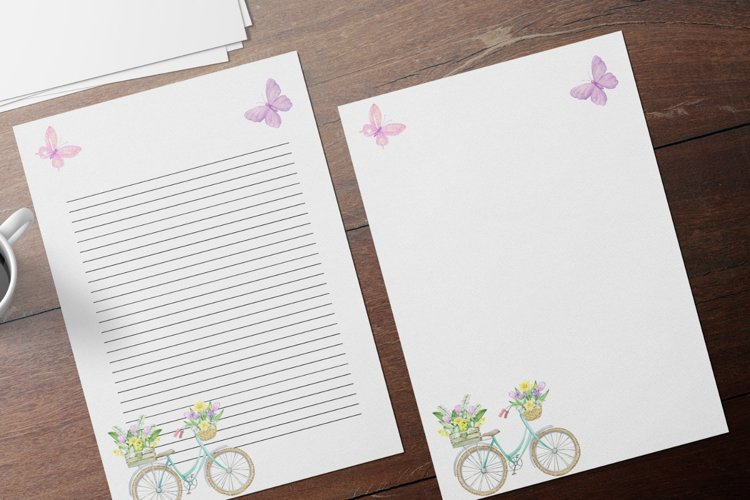 Spring Bicycle Watercolor Wedding Invitation Papers example image 1
