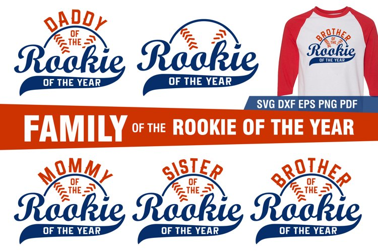 Rookie of the Year Family|Baseball shirt design SVG bundle