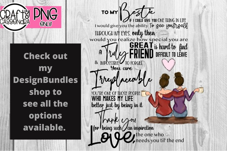 For my Bestie - best friends quote - bff quote - besties png example image 1