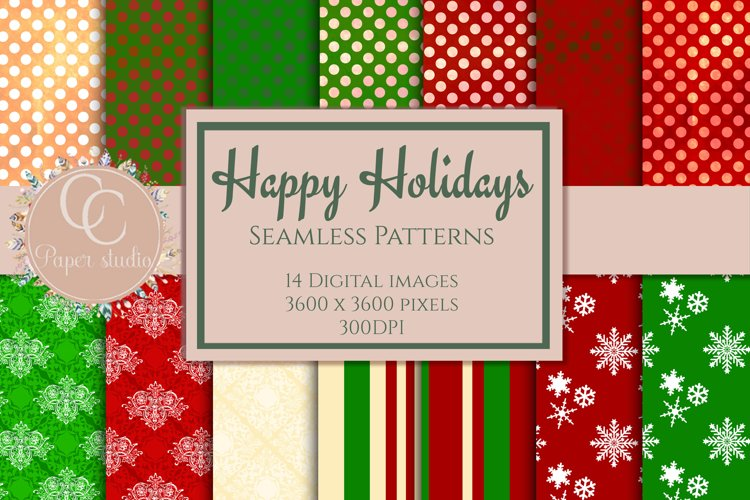 Happy holidays Christmas seamless pattern digital paper example image 1