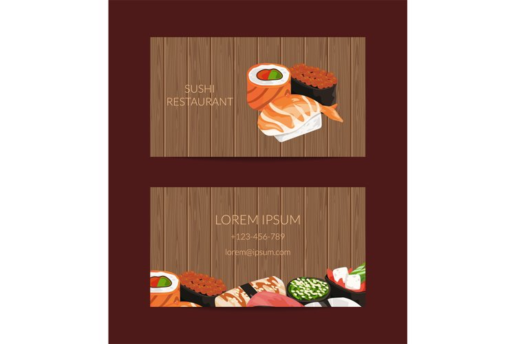 Vector business card templates in cartoon style for sushi re example image 1