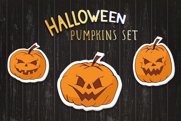 Halloween pumpkins stickers. Vector.