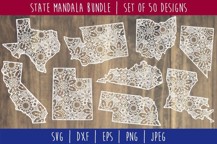 State Mandala Zentangle Bundle Set of 50 - USA SVG