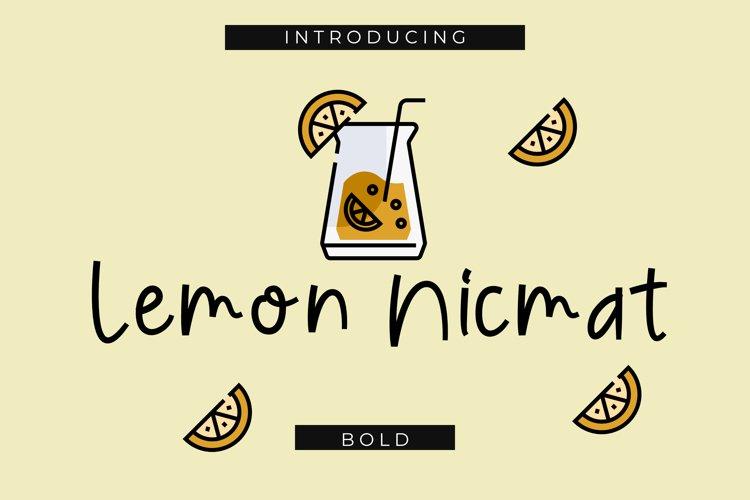 Lemon Nicmat Bold Playful font example image 1