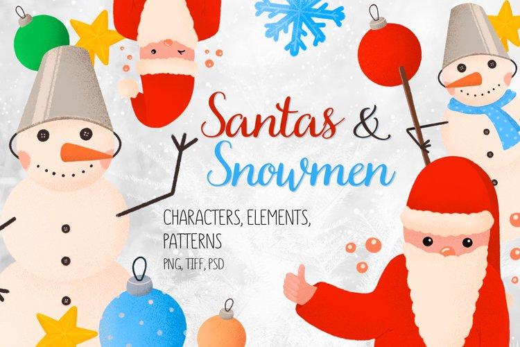 Santa and snowmen. Christmas Elements, Character, Patterns