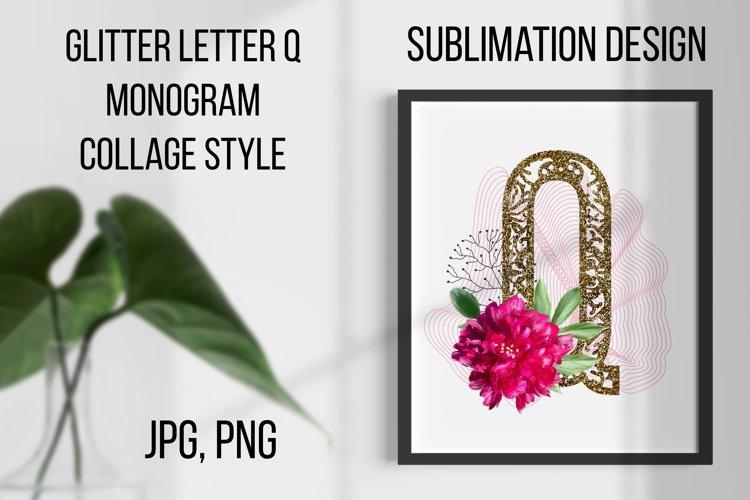 Gold lase letter Q, Monogram collage, Sublimation design example image 1