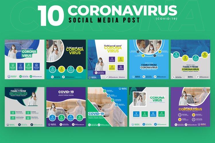 Covid-19 & Coronavirus 10 Social Media Post Template example image 1