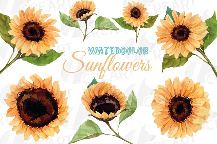 Sunflower watercolor decoration clip art pack. diy decor example image 1