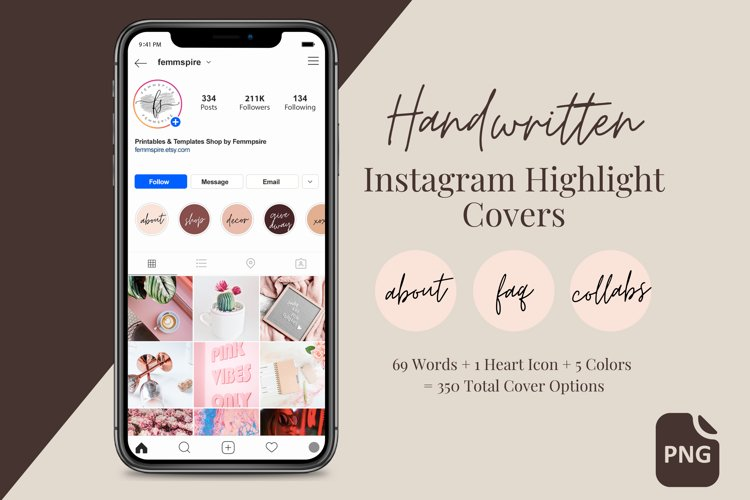 Instagram Highlight Covers, Feminine Handwritten Text, PNG example image 1