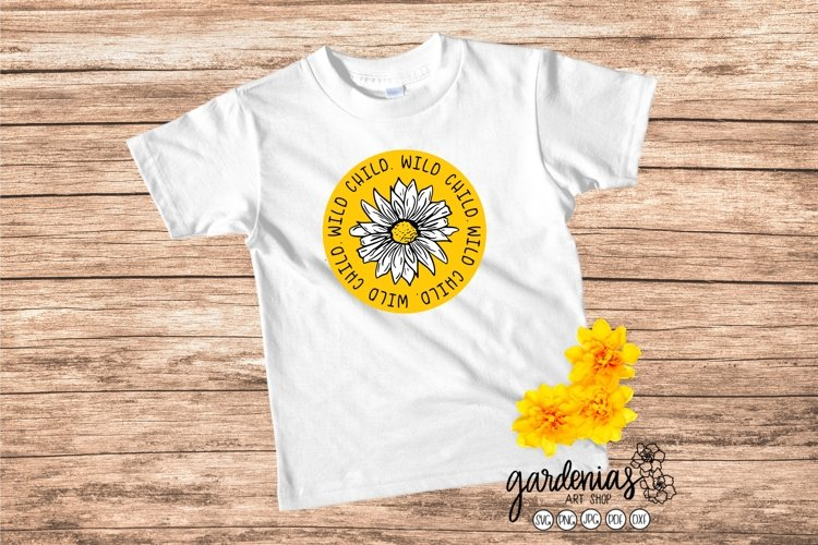 Wild Child SVG Daisy Flower Cut File | Kids Design Clip Art