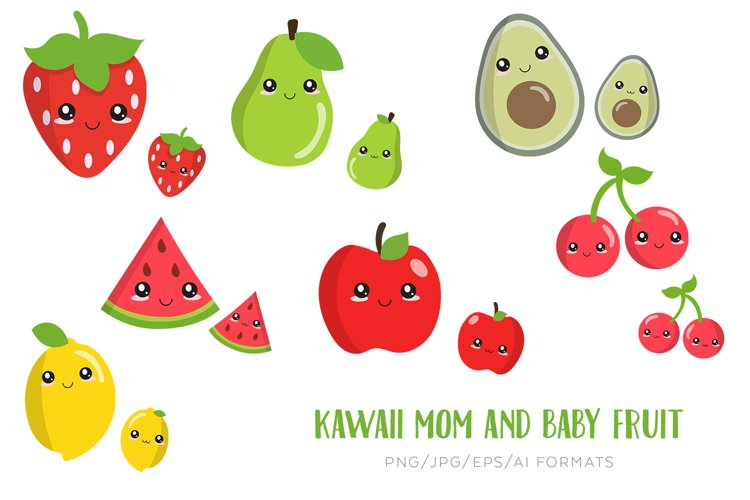 Kawaii mother and baby fruit vector clipart