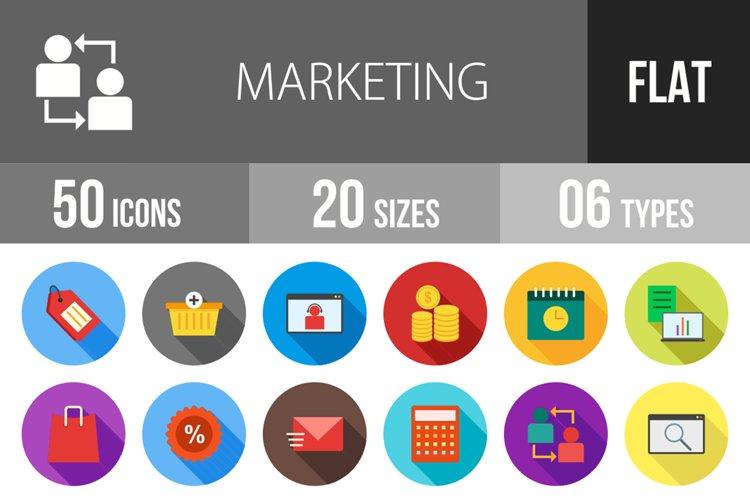 50 Marketing Flat Long Shadow Icons example image 1