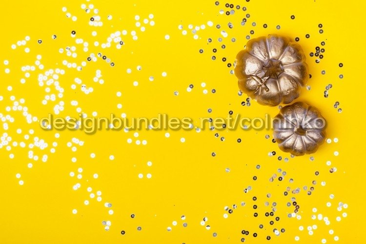Thanksgiving background with golden pumpkins example image 1