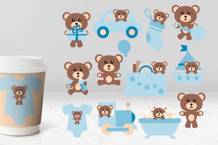 Baby boy blue teddy bear illustrations