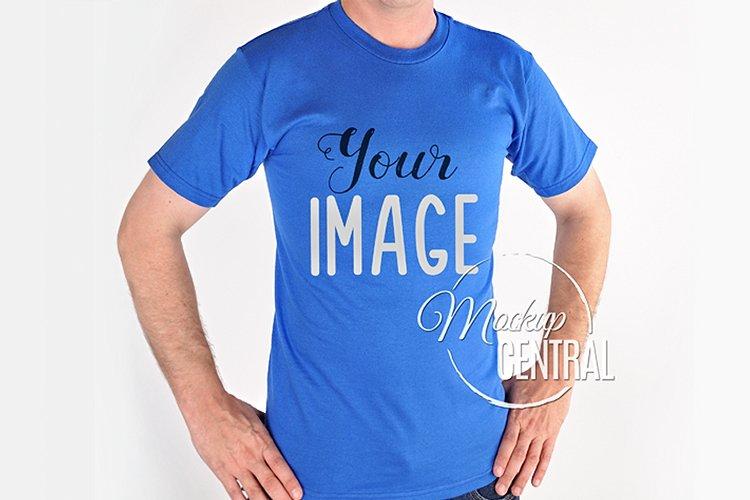 Man in Blue T-Shirt Mock Up, Men's Mockup JPG Shirt example image 1