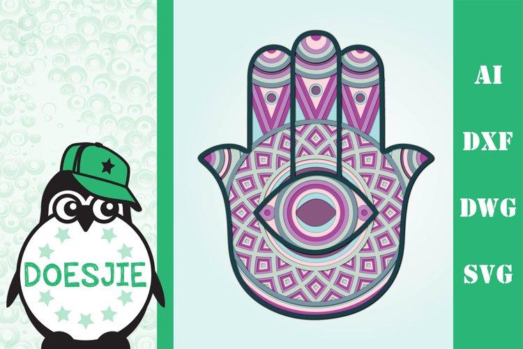 3d layered Hamsa hand multi layer mandala 8 layers example image 1