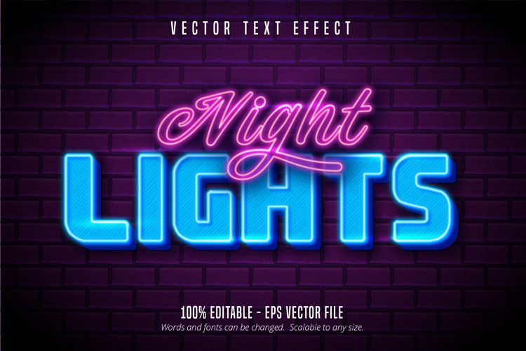 Night lights text, neon style editable text effect example image 1