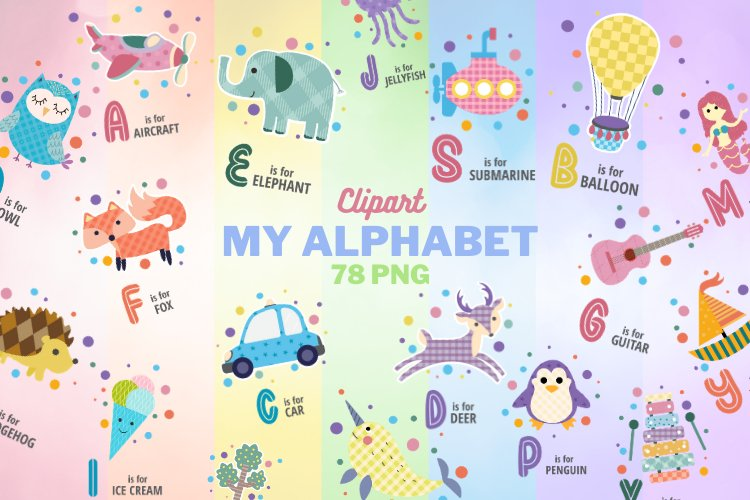 Alphabet Clipart, 78 watercolor PNG Graphics, Letters Name