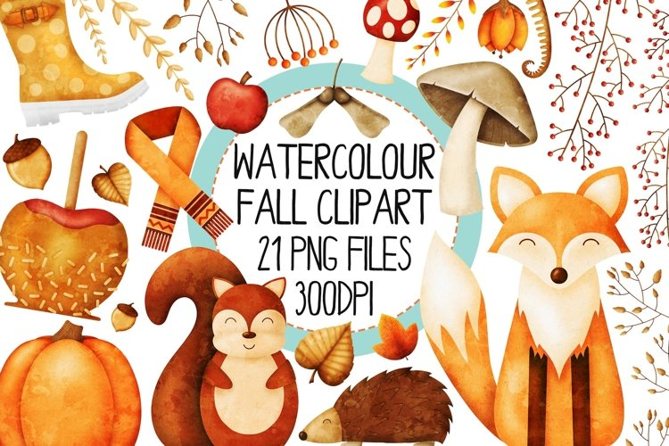 Watercolor Fall Clip Art Set 1 example image 1