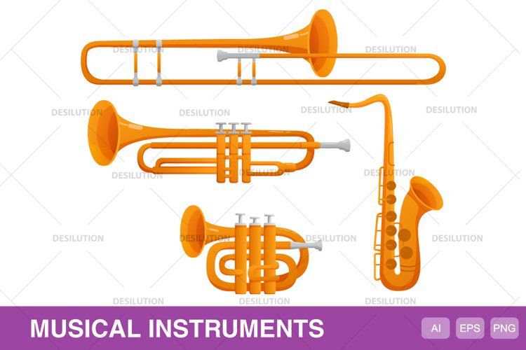 Musical jazz wind instruments. example image 1