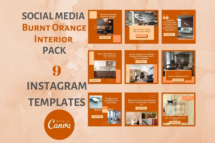Instagram Post Template- Fall themed Interior & Real Estate example image 1