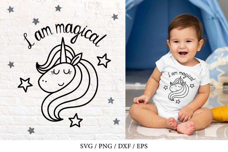 Unicorn SVG with stars, I am magical