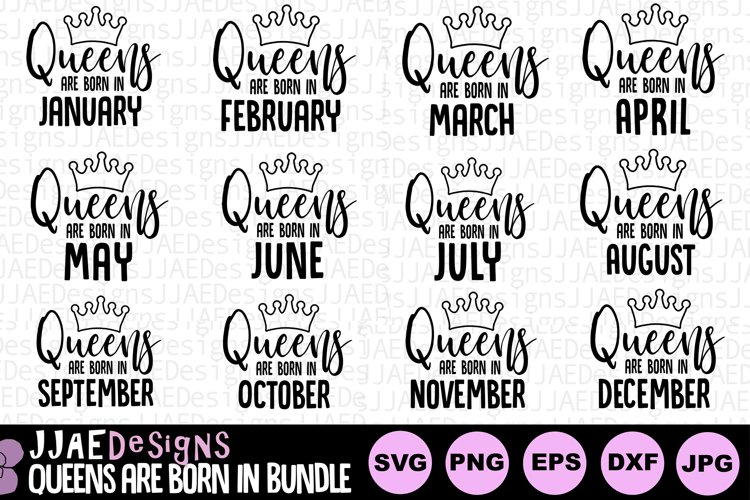 Queens are Born In svg Bundle | Birthday Queen| Birthday svg example image 1