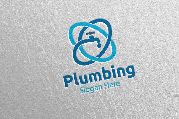 Plumbing Logo with Water and Fix Home Concept 72 example image 1