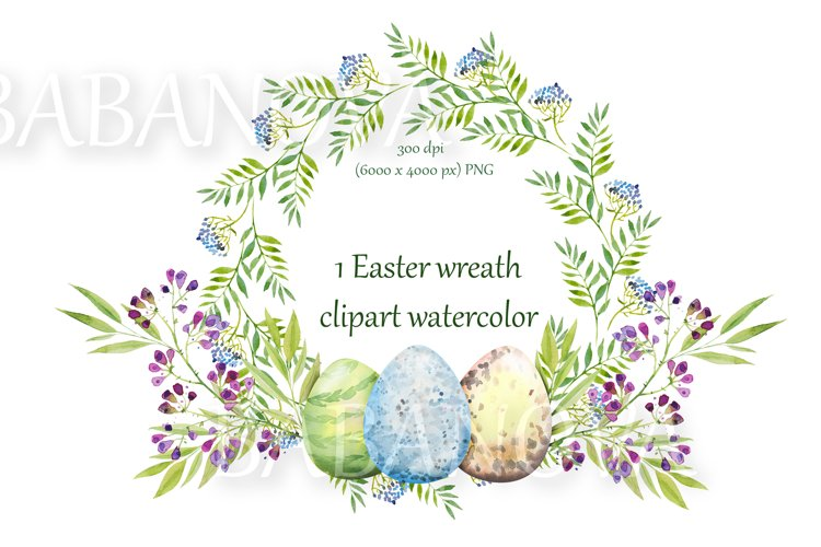 Easter floral wreath with flowers, branches and eggs example image 1