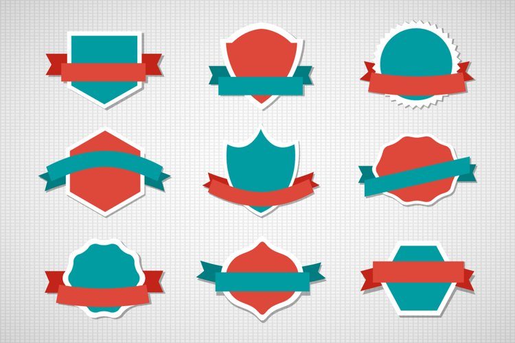 Set  vector label sticker icon emblem templates