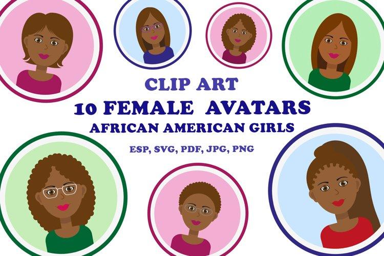 African American face clipart. Black girl avatar set.